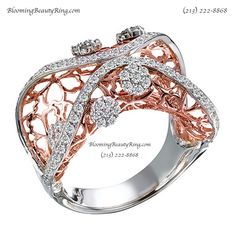 An amazing 2-Tone Rose Gold and White Gold Ring with diamond accents by BloomingBeautyRing.com  (213) 222-8868