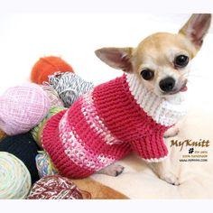 Crocheted Pink Dog Sweater Clothes Chihuahua Jumper Pet por myknitt, $33.00