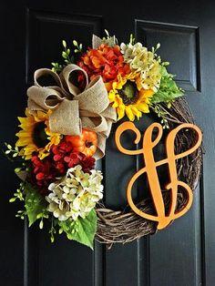 The Orange Felicity Fall Wreath, Autumn Wreath, Fall Wreath, Sunflower Wreath, Burlap Wreath, Monogram Wreath, Hydrangea, Thanksgiving
