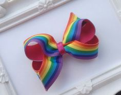 Laço pequeno (7,5 cm) Arco-íris/Pink