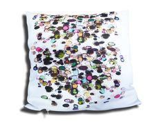 Product is shipped from the UK!  This is a lovely  pillow with every colour under the sun and handmade with super soft spun poplin polyester.  I love this print - it's so fun - I designed this print when I was in need of some colour in my life and I bet if you look closely, you'll find all sorts of things in there!