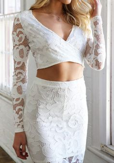 Lace Crop Top / Skirt