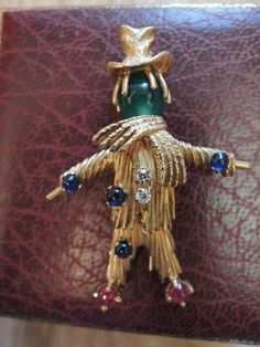 Rare Van Cleef & Arpels VCA Scarecrow Diamonds Gemstones Gold Brooch Pin Kennedy