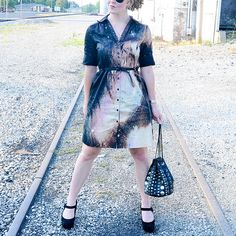 "Galaxy Dress ""how to"" from @Stacie Grissom using black dress, bleach and Simply Spray Fabric Paint"