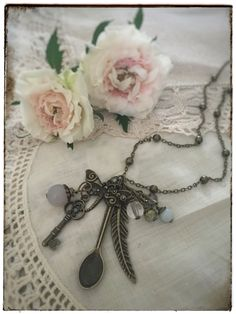 "Antique bronze fairy tale jewelry on www.varalusikka.fi. Vintage style hand made spoon necklace with aquamarine and chrystals called ""Brook Fay""."