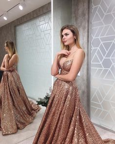 Charming V neck Sequins Prom Dress, Sexy Evening Party Dress T1815 Senior Prom Dresses, Gold Prom Dresses, Elegant Prom Dresses, A Line Prom Dresses, Evening Dresses, Pretty Dresses, Plus Size Prom, Plus Size Dresses, Prom Dress With Train