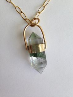 Double Terminated Fluorite & Brass Crystal Point Necklace
