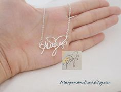 Personalized Signature Necklace: Mich Personalized takes your choice of handwritten phrase, name or signature and turns it into a pretty piece to wear around your neck, always.
