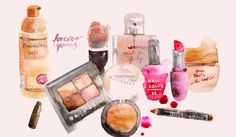 Hand drawn cosmetics and beauty watercolor set. Zip archive contains 6 eps + 6 hi-res JPG files. - watercolor cosmetics and make-up objects and lettering - Online Beauty Store, Beauty Hacks, Beauty Ad, Beauty Tips, Graphic Illustration, Nail Colors, How To Draw Hands, Perfume Bottles, Clip Art