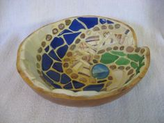 Mosaic gourd bowl  Donation for Disaster Relief by tabachin, $45.00