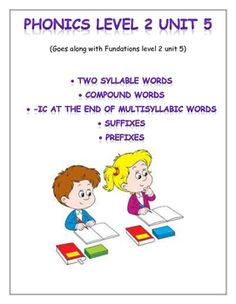Fundations level 2 unit 5: 2 syllable words, compound words, -ic at the end of multisylabic words, suffixes, prefixes- I hope you find this resource useful! Use it for morning work, homnework, seatwork, early finishers, or intervention practice.Included:-picture/word match-highlight syllables and marking up practice-tap out and spell multisyllabic words to match pictures (quantity: 2)-trick word: word search and spelling practiceCheck back at my store for more Fundations supplements or if…