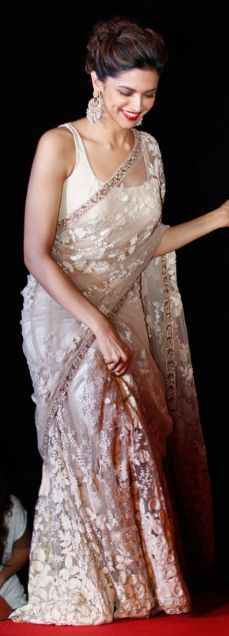 Deepika Padukone during Ram Leela promotions. I always love her sarees, http://www.bdcost.com/saree