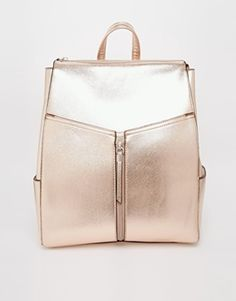 New Look Rose Gold Cross Hatch Backpack