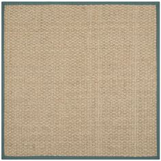 Safavieh Natural Fiber Natural/ Light Blue Sisal Sea Grass Rug (6' Square) | upstairs hall area