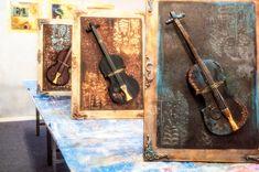 Το σεμινάριο για τις μικτές τεχνικές με την Βαρβάρα Κουμασίτη  #μικτές τεχνικές #mixed media #decoupage #καμβάς