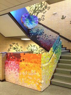 How to make a pixelated post-it staircase.  via tumblr  via   http://somewhereiwouldliketolive.blogspot.com/  post it.3 THTLB