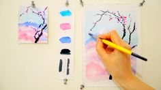 Step by step watercolor tutorial: Cherry Blossom and Mount Fuji