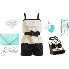 """""""adorable lace bubble top with Tiffany and Co accessories"""" by shauna-rogers on Polyvore"""