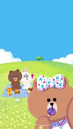 Lines Wallpaper, Summer Wallpaper, Kawaii Wallpaper, Friends Illustration, Cute Illustration, Line Cony, Melody Hello Kitty, Sunflower Illustration, Cony Brown