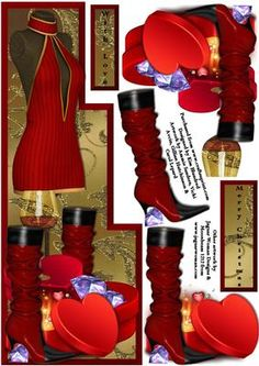 Runway Style Christmas or Birthday Celebration on Craftsuprint designed by Kim Blundred - This sheet has a shaped topper for a large DL card and several decoupage layers. The theme is fashion and extravagance with stylish outfits, wine and diamonds.Great for followers of fashion or trend setters. This design has a short dress, knee-length boots and gift boxes.This is versatile to suit Birthday, Prom, Christmas or any other occassion for younger females. - Now available for download!