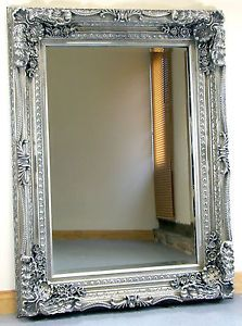 """Large Silver Wall Mirror sienna silver ornate rectangle vintage wall mirror 43"""" x 33"""" x"""