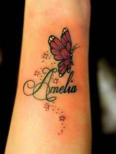 Cute Red Butterfly Followed By Name. Awesome idea for wrist tattoo.  #Tattoo #Inked #WomenTriangle