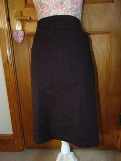 Navy Studded Skirt Knee Length Pencil Straight Womens Lady Buttons Zipper New UK