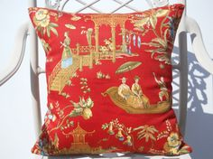Red Asian/Oriental Pillow Cover, Modern Red Chinese Pillow, 20'' x 20'' Decorative Japanese Pillow, Stylish Pillow Cover, Red/Yellow/Green