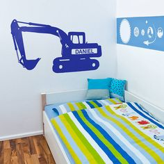 personalised digger vinyl wall sticker by oakdene designs | notonthehighstreet.com