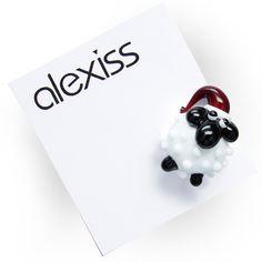 alexiss Magnetpin - weißes X-mas Schaf mit Zipfelmütze