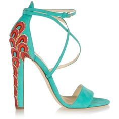 Brian Atwood Sonya embellished suede sandals (7.465 ARS) ❤ liked on Polyvore featuring shoes, sandals, heels, zapatos, high heels, high heel shoes, heeled sandals, embroidered shoes, ankle strap shoes and brian atwood shoes