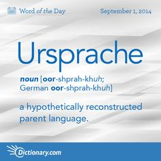Dictionary.com's Word of the Day - Ursprache - a hypothetically reconstructed parent language, as Proto-Germani...