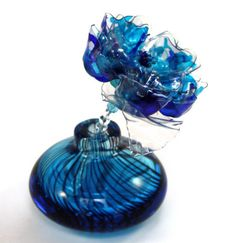 Turquoise and Cobalt Blue Murano Flower and Vase, wand, Mothers Day Chihuly inspired, Perfume Bottle, Recycled Art Plastic