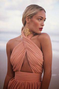 Coral Drape Chiffon Halter Beach Dress by Sabo Skirt