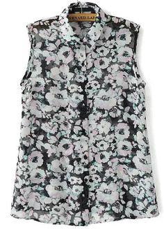 Black White Lapel Sleeveless Floral Chiffon Blouse 12.50