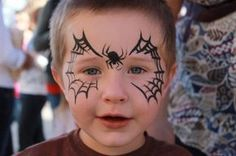 Simple face painting designs are not hard. Many people think that in order to have a great face painting creation, they have to use complex designs, rather then Halloween Face Paint Designs, Face Painting Halloween Kids, Face Painting For Boys, Halloween Facepaint Kids, Simple Face Painting, Easy Face Painting Designs, Halloween Ideas, Halloween Costumes, Fantasy Makeup