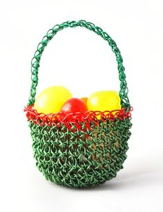 Miniature Easter basket crocheted in copper wire