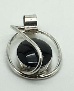 VTG Sterling Silver Black Onyx Pendant MCM Modern Freeform Mexican Mexico 925  #Unbranded