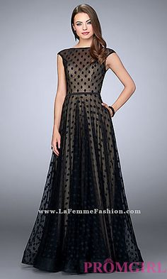 Long Polka Dot A-Line Prom Dress with Cap Sleeves at PromGirl.com
