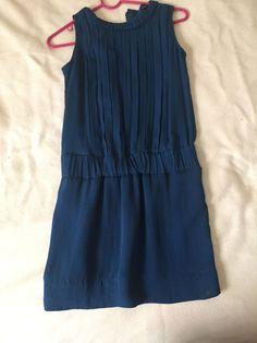 Banana Republic Royal Blue 100% Silk Drop Waist Pleated Sleeveless Lined Dress 4 #BananaRepublic #Tunic