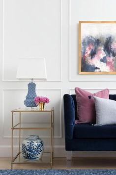 Estimated Shipping is 3-4 weeks. Tie your room together with this beautiful statement piece. Replication of original acrylic painting by staff Caitlin Wilson Designer, Nicole Ray. Fuchsia and Navy abs