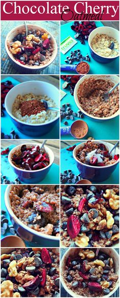 Chocolate Cherry Oatmeal! Breakfast under 300 calories!