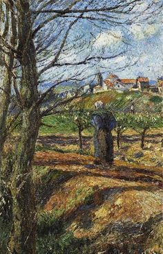 Camille Pissarro Near Pontoise Oil Painting Reproductions for sale Renoir, Claude Monet, Paul Gauguin, Van Gogh, Camille Pissarro Paintings, Manet, Oil Canvas, Canvas Art, Post Impressionism