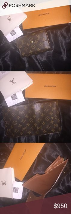 100% AUTHENTIC LOUIS VUITTON Like new wallet, wore it for a wedding and that's it. 13 pockets, clear plastic where ID goes, has coin and money wallet. This wallet holds a lot!!!! It's one of Louis Vuitton larger wallets. Will only trade for chanel Louis Vuitton Bags Wallets