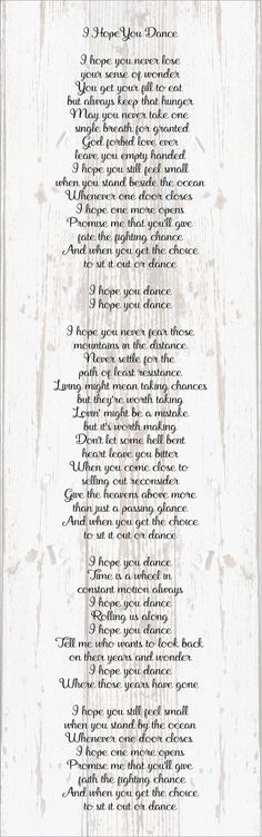 I Hope You Dance Lyrics Wood Sign, Canvas Wall Art, Banner - Dorm, Christmas, Teenager, New Baby,