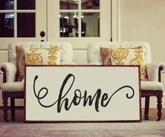 """Home"" Approximately 48"" x 24"" Printed Board + Stained Wood Frame Please note these boards are lightweight (2-5 pounds) making decorating and rearranging a breeze! Hangers are included with all produc"