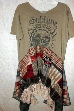 REVIVAL Boho Shirt, Bohemian Junk Gypsy Style, Grunge Rocker Girl Chic, Free People Style, Rock N Roll Plaid , Coachella Music Fest, Sublime 90s Band TShirt