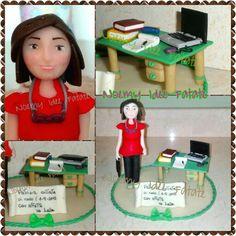 Statue cake topper polymer clay school teacher