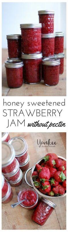 Canning Honey Sweetened Strawberry Jam Without Pectin | Yankee Homestead