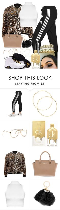 """""""gold life"""" by bbylex23 ❤ liked on Polyvore featuring adidas Originals, Calvin Klein, River Island, Michael Kors and WearAll"""